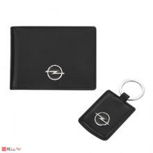 Сет Ключодържател и Калъф за документи и карти, тип визитник, естествена кожа, марка Opel