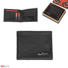 Мъжки портфейл естествена кожа 11x10см, класически, хоризонтален, черен гланц, Pierre Cardin