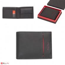 Мъжки портфейл естествена кожа, хоризонтален, черен с червена черта, Pierre Cardin PCL02009