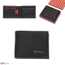 Мъжки портфейл естествена кожа 13x10см, хоризонтален, черен, Pierre Cardin PCL02034