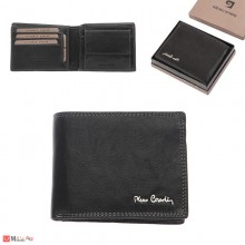 Мъжки портфейл естествена кожа 11x10см, хоризонтален, черен, двоен шев, Pierre Cardin PCL02036