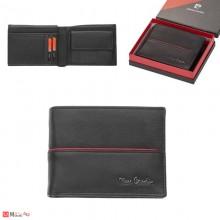 Мъжки портфейл естествена кожа 12x10см, хоризонтален, черен с червена линия, Pierre Cardin PCL02045