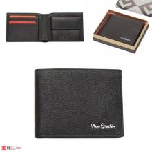 Мъжки портфейл естествена кожа 12x10см, хоризонтален, черен, Pierre Cardin PCL02102