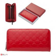 Дамско Портмоне с цип, еко кожа, червено, щампа гланц - PIERRE CARDIN