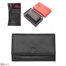 Дамско стилно портмоне от естествена кожа, черно, PIERRE CARDIN