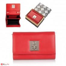 Дамско портмоне тип дамска чанта, естествена кожа, червено, с презрамка, PIERRE CARDIN
