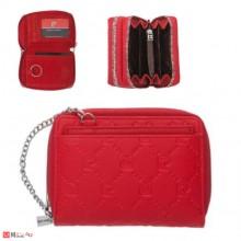 Дамско Портмоне с цип, еко кожа, червена щампа, PIERRE CARDIN