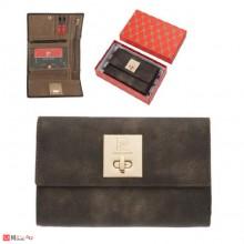 Дамско златисто портмоне, естествена кожа, с механизъм, PIERRE CARDIN
