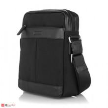 Мъжка Чанта от плат и естествена кожа, 28/27см, класически модел за през рамо, SILVER FLAME LF01L