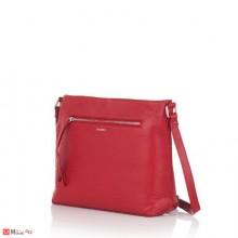 Дамска чанта през рамо, цвят червен, естествена кожа, RОSSI