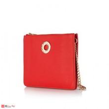 Дамска Чанта за през рамо, червен цвят, естествена кожа, ROSSI