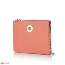 Малка Дамска Чанта за през рамо, розов цвят, естествена кожа, ROSSI