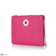 Малка Дамска Чанта за през рамо, цвят малина, естествена кожа, ROSSI