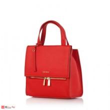 Дамска Раница в червено, малка и стилна, естествена кожа, ROSSI