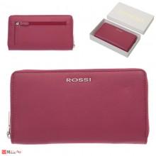 Дамски Портфейл естествена кожа с цип, 11х19см, цвят малина, кожени портмонета Rossi