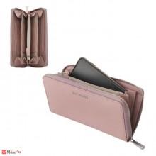 Дамски Портфейл естествена кожа с цип, 11х19см, перлено розово, кожени портмонета Rossi