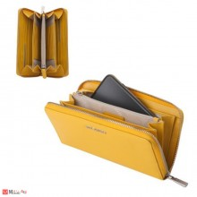 Дамски Портфейл естествена кожа с цип, 11х19см, жълто, кожени портмонета Rossi