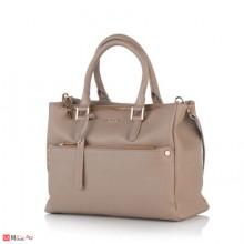 Луксозна дамска бизнес чанта в цвят бежoво, естествена кожа, ROSSI