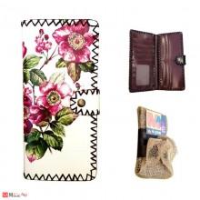 Дамско портмоне дълго, арт декорация, естествена кожа, флорален мотив, Lesszno 450070