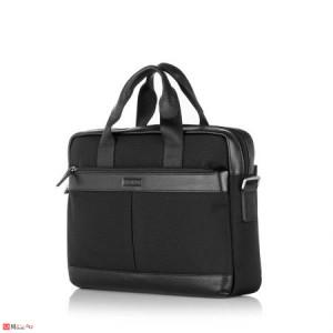 Бизнес Чанта от плат и естествена кожа, с отделение за лаптоп, спортно-елегантен модел, SILVER FLAME LF01COM