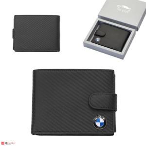 Мъжки портфейл BMW, естествена кожа, 12x10см, класически, хоризонтален, черен, Auto Set AS0702