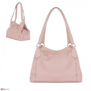 Дамска чанта естествена кожа 21х40см, перлено розово, дамски чанти тип торба Rossi