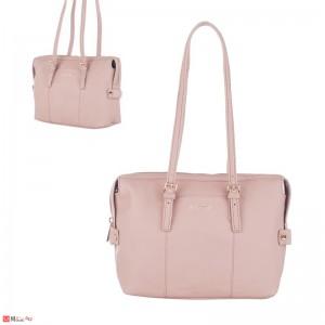 Дамска чанта естествена кожа 21х29см, перлено розово, дамски чанти през рамо Rossi Италия
