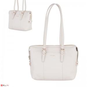 Дамска чанта естествена кожа, дамски чанти през рамо Rossi Италия, слонова кост