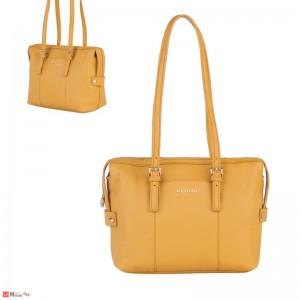Дамска чанта естествена кожа, дамски чанти през рамо Rossi Италия, светла горчица