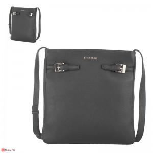 Дамска чанта тип торба 26х23см, цвят черен, дамски чанти естествена кожа Rossi