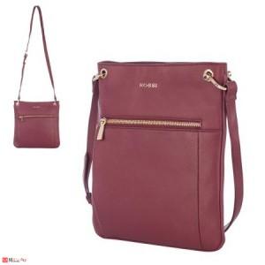 Дамска чанта тип торба, дамски чанти естествена кожа Rossi, винено червено