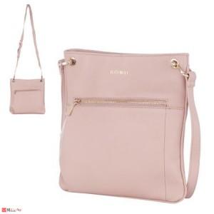 Дамска чанта тип торба 26х27см, перлено розово, дамски чанти естествена кожа Rossi