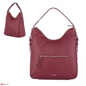 Дамска чанта тип торба 32х34см, винено червено - дамски чанти естествена кожа Rossi