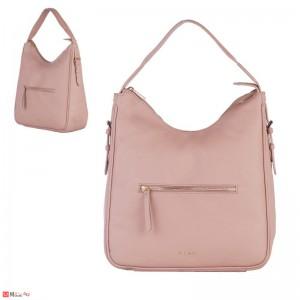 Дамска чанта тип торба 32х34см, перлено розово - дамски чанти естествена кожа Rossi