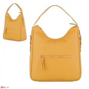 Дамска чанта тип торба 32х34см, светла горчица - дамски чанти естествена кожа Rossi