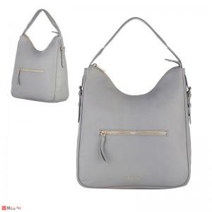 Дамска чанта тип торба 32х34см, сива - дамски чанти естествена кожа Rossi
