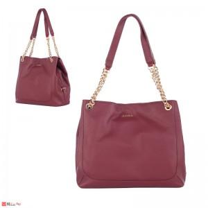 Дамска чанта естествена кожа, 32х27см, винено червена - дамски чанти тип торба Rossi