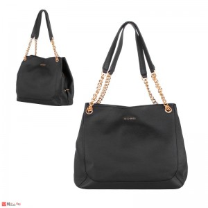 Дамска чанта естествена кожа, 32х27см, черна - дамски чанти тип торба Rossi
