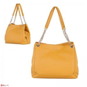 Дамска чанта естествена кожа, 32х27см, светла горчица - дамски чанти тип торба Rossi