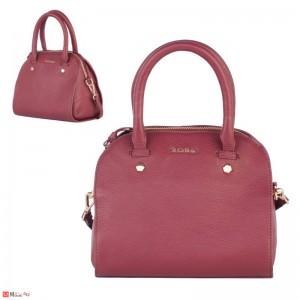 Дамска чанта естествена кожа 21х25см, винено червено - малки дамски чанти Rossi