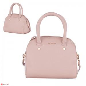 Дамска чанта естествена кожа 21х25см, перлено розова - малки дамски чанти Rossi