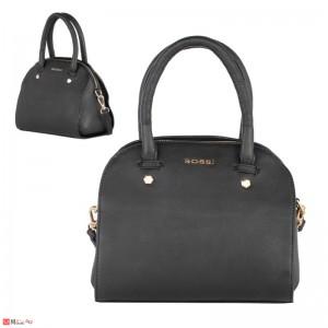 Дамска чанта естествена кожа 21х25см, черна - малки дамски чанти Rossi