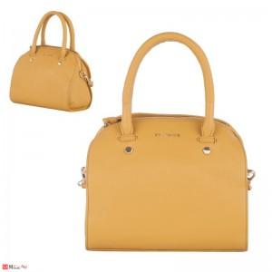 Дамска чанта естествена кожа 21х25см, светла горчица - малки дамски чанти Rossi