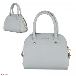 Дамска чанта естествена кожа 21х25см, сива - малки дамски чанти Rossi