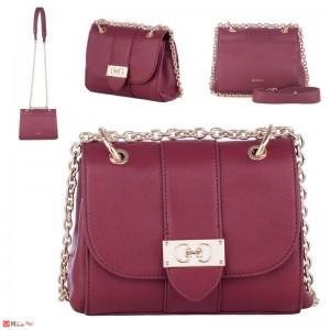 Дамска чанта през рамо 20х17см, винено червена, дамски чанти естествена кожа Rossi