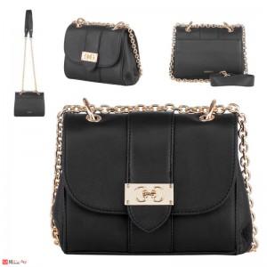 Дамска чанта през рамо 20х17см, черна, дамски чанти естествена кожа Rossi