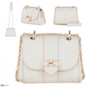 Дамска чанта през рамо 20х17см, бяла, дамски чанти естествена кожа Rossi