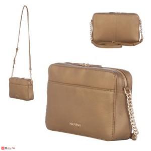 Дамска чанта през рамо 25х16см, бронзов цвят, дамски чанти естествена кожа Rossi