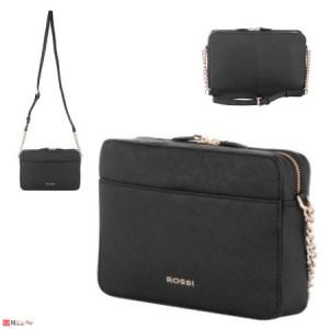 Дамска чанта през рамо 25х16см, черна, дамски чанти естествена кожа Rossi