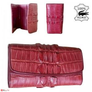 Дамски Портфейл от истинска Крокодилска кожа, голям, бордо, 19х11см